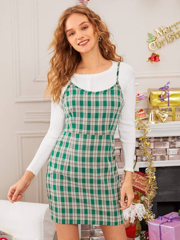 Plaid Zip Back Cami Dress, Green, Nell