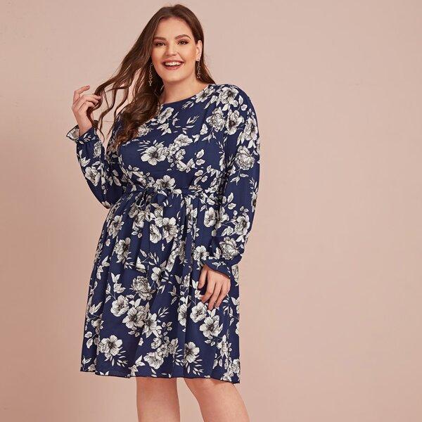 Plus Floral Print Self Tie A-line Dress, Multicolor