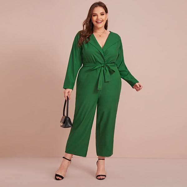 Plus Self Tie Zip Back Jumpsuit, Green