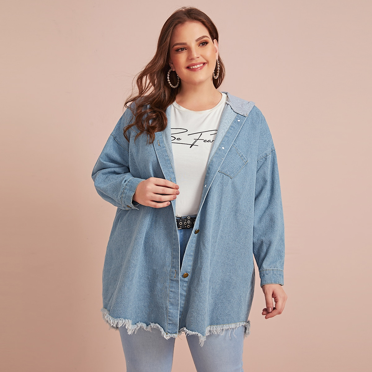 Blauw Casual Kleurblok Grote maten: jeansjassen Ruwe hem