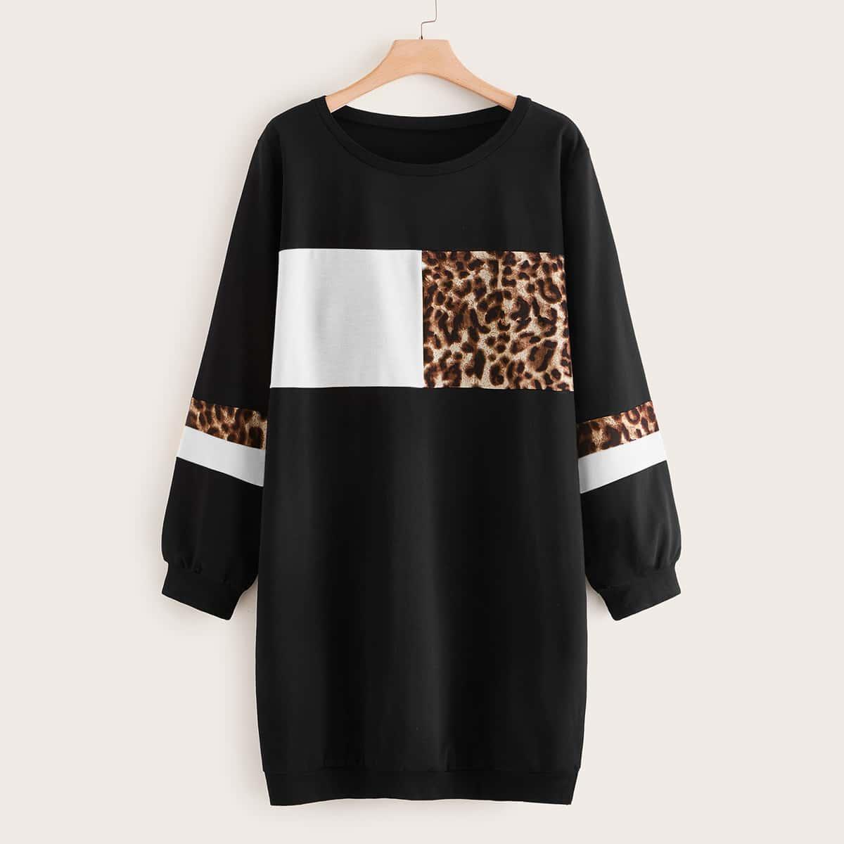 Zwart Casual Luipaard