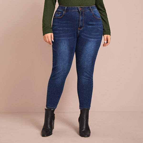 Plus Cat Whiskers Skinny Jeans, Navy