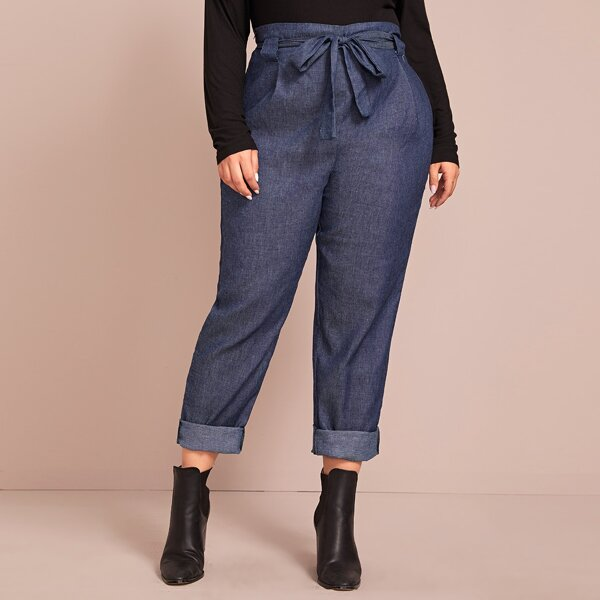 Plus Self Tie Solid Carrot Jeans, Navy