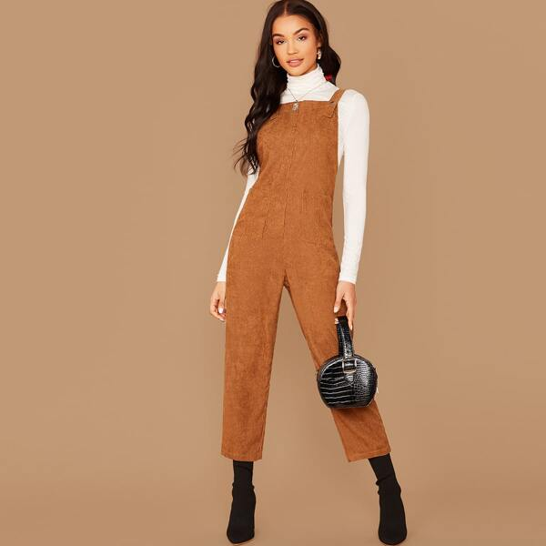 Patch Pocket Solid Corduroy Overall Jumpsuit, Camel