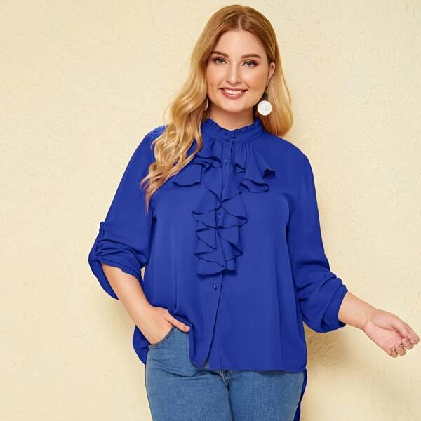 Plus Jabot Collar Roll Tab Sleeve High-low Hem Blouse, Blue bright