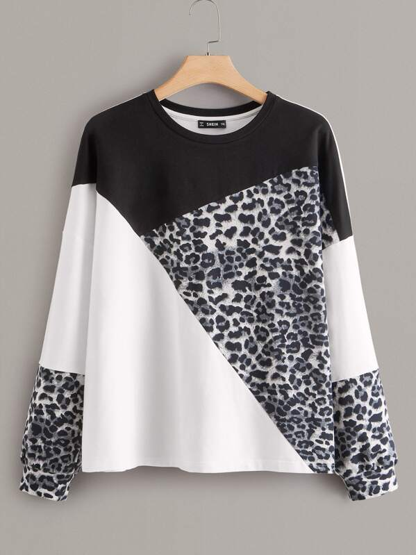 Plus Cut-and-sew Leopard Sweatshirt, Black and white