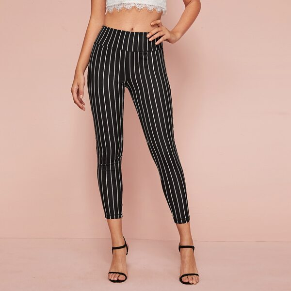 Wide Waistband Striped Leggings, Black and white