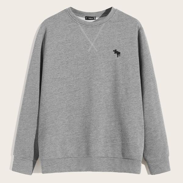 Men Embroidered Detail Heather Grey Pullover