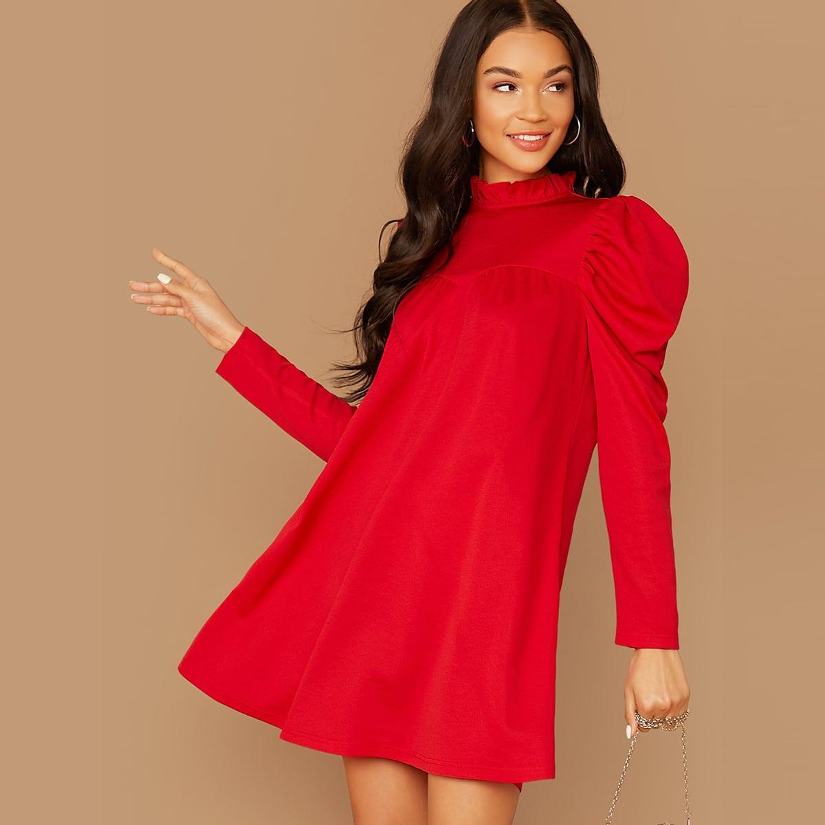 SHEIN / Kleid mit Falten und Stehkragen