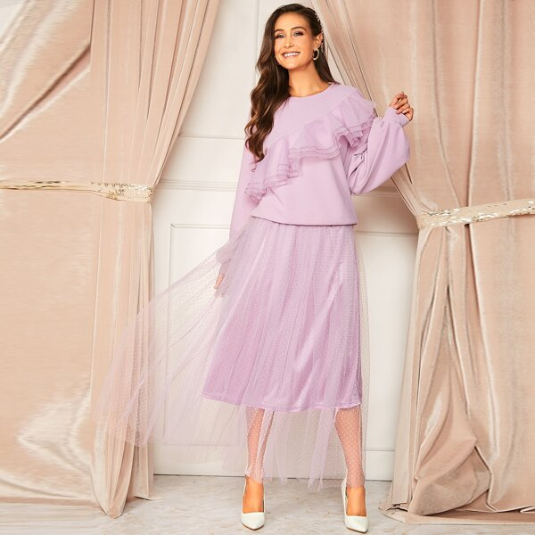 Layered Ruffle Trim Top & Swiss Dot Mesh Overlay Skirt Set, Purple pastel