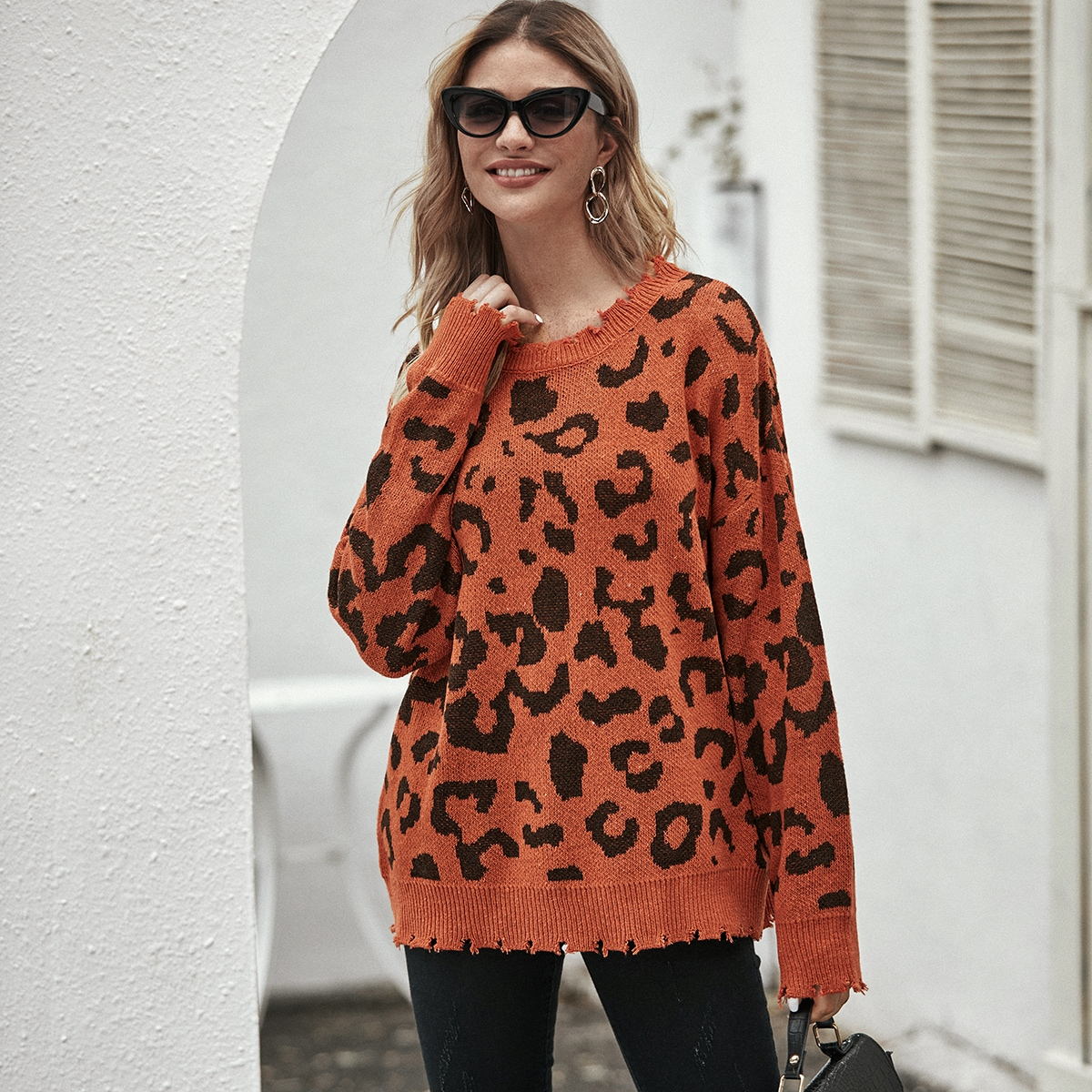 Drop Shoulder Raw Cut Leopard Sweater