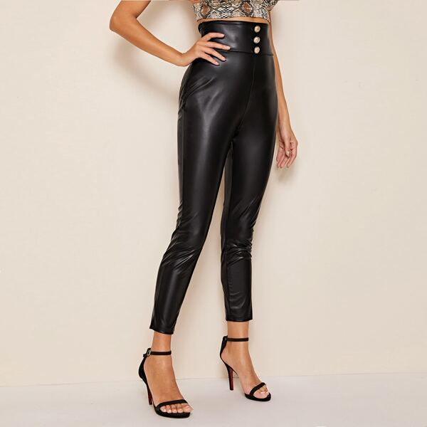 Button Detail Wide Band Waist Coated Pants, Black