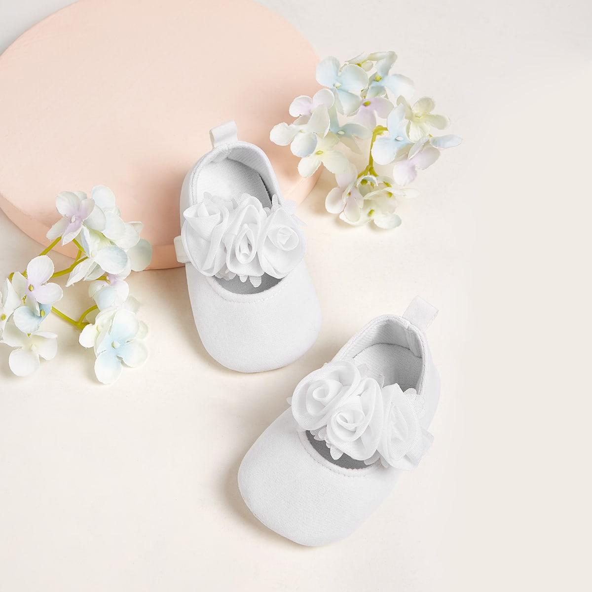 Балетки на липучке с цветком для девочек от SHEIN