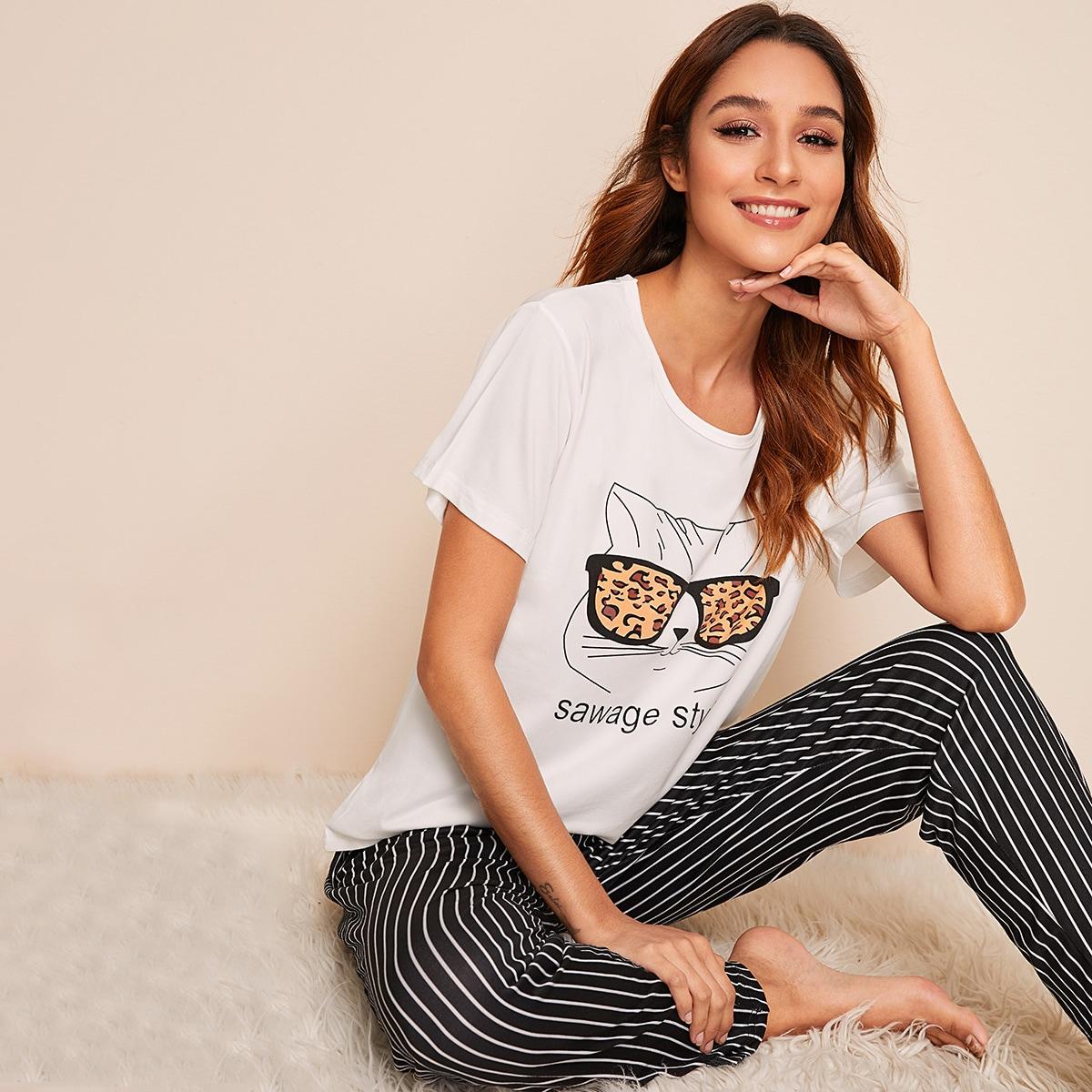 Пижама в полоску с графическим принтом от SHEIN