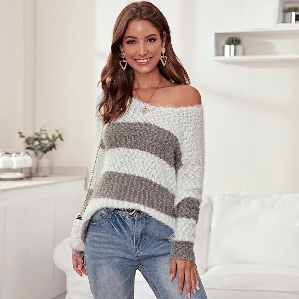 Two Tone Fluffy Knit Drop Shoulder Sweater, Multicolor