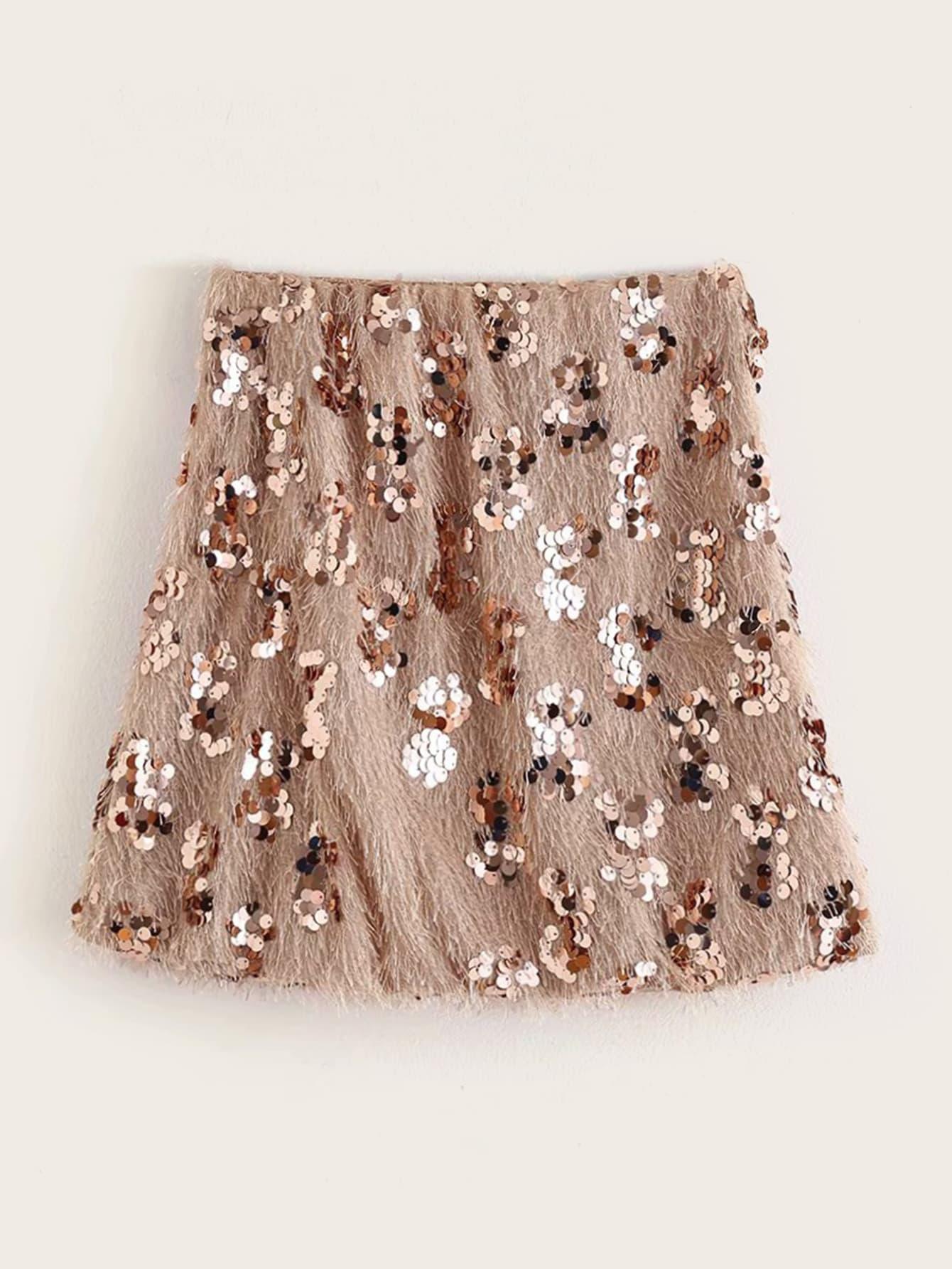 Мини юбка с блестками
