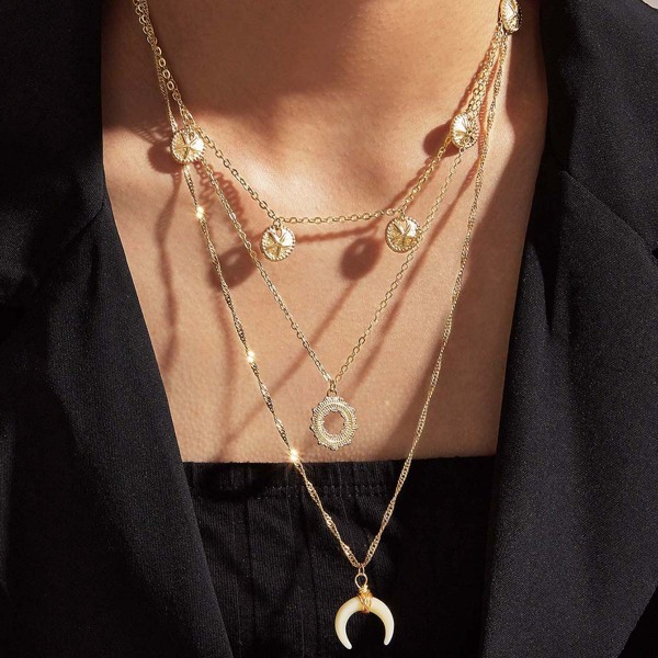 1pc Horn & Coin Charm Layered Necklace, Gold