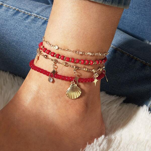 4pcs Star & Shell Charm Anklet, Multicolor