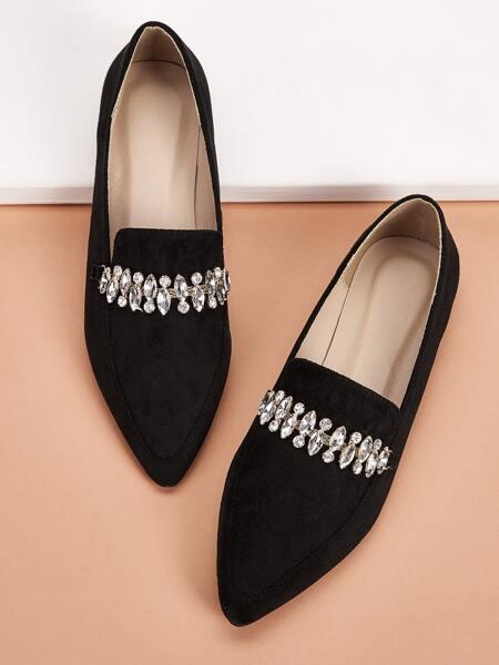 Point Toe Rhinestone Decor Loafers
