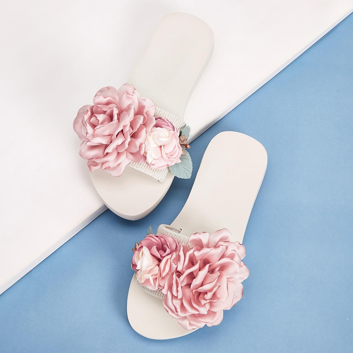 Тапочки с цветочной аппликацией и открытым носком от SHEIN