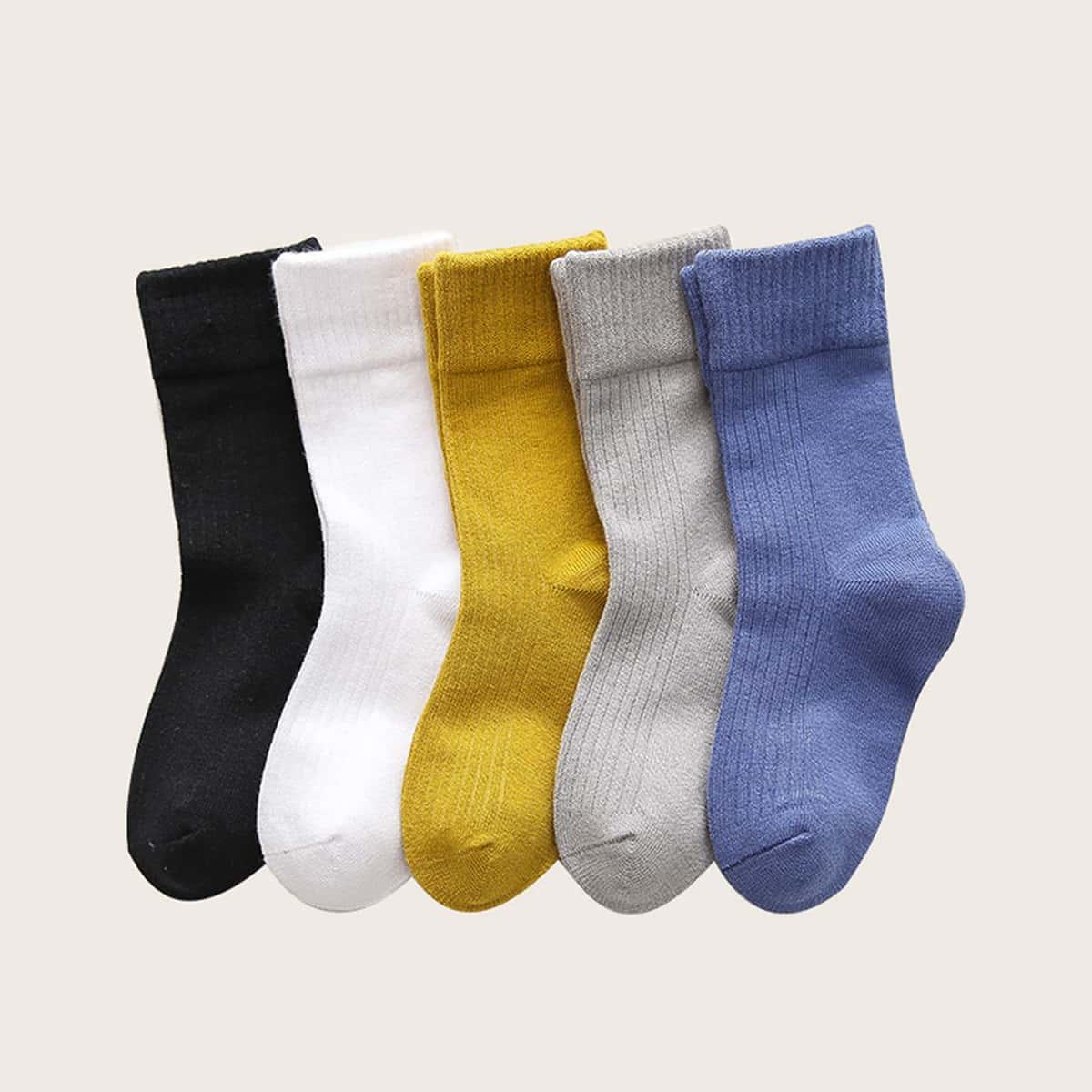 Однотонные носки для мальчиков 5 пар