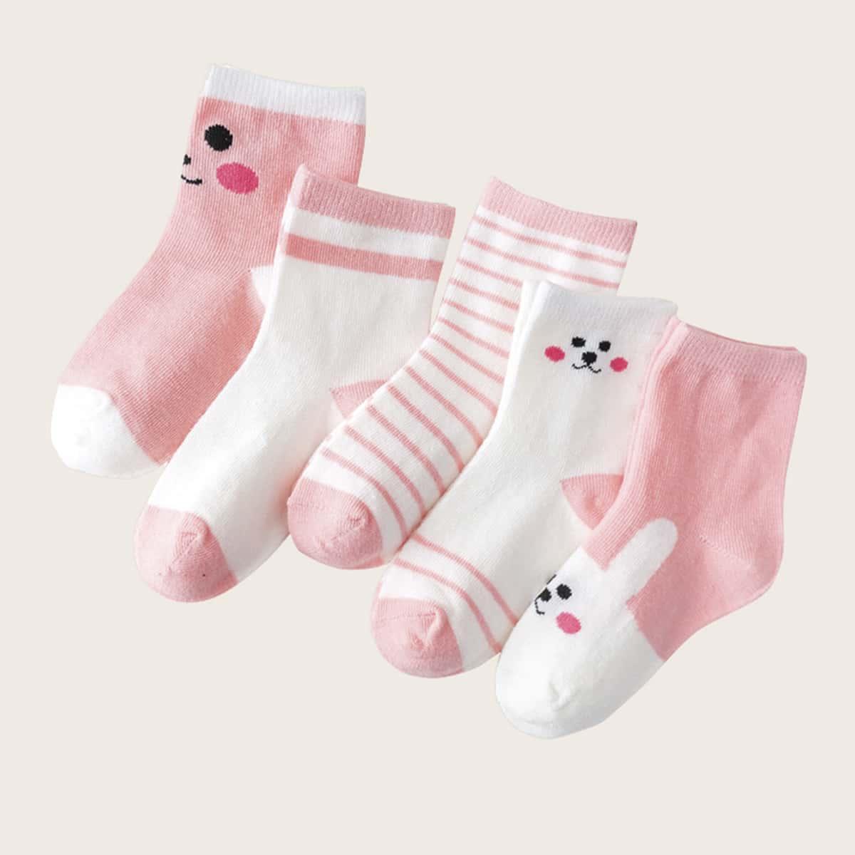Полосатые носки для девочек 5 пар