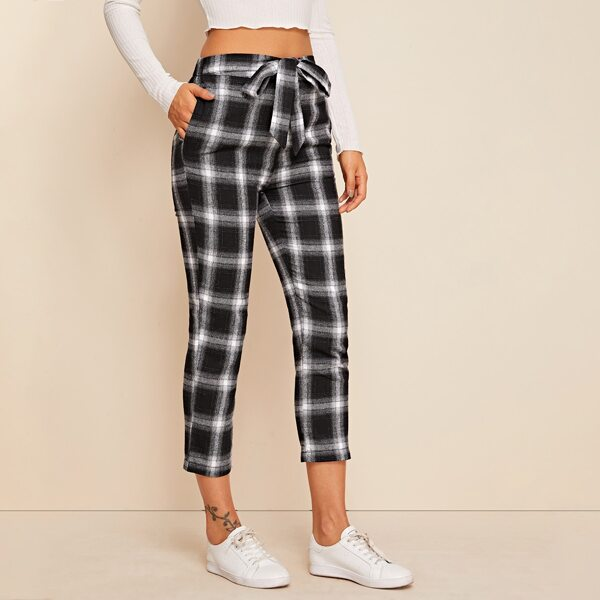 Self Tie Slant Pocket Tartan Pants, Black and white