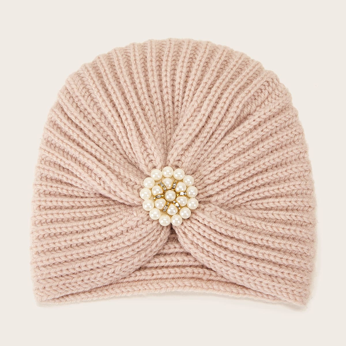 Faux Pearl Decor gebreide tulband hoed