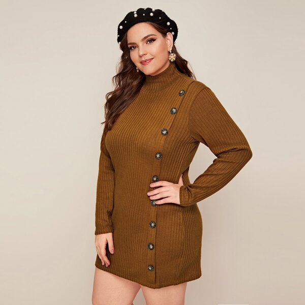 Plus Button Detail Ribbed Knit Sweater Dress