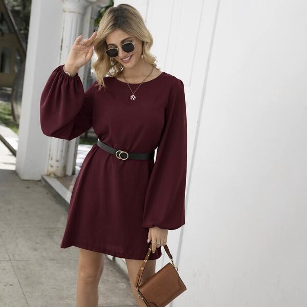 Self Tie Bishop Sleeve Tunic Dress, Burgundy