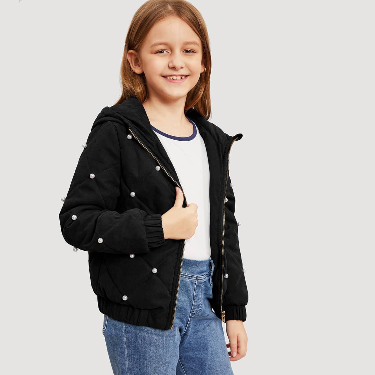Куртка с капюшоном и жемчугом для девочек от SHEIN