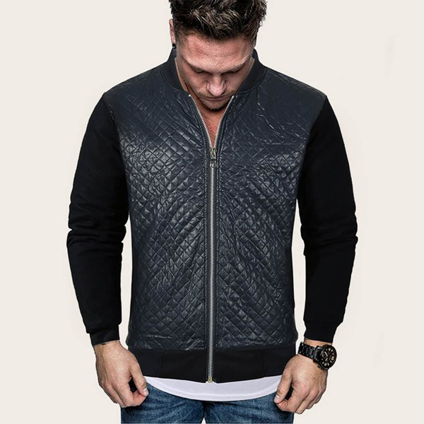 Men Zip Up Quilted PU Leather Bomber jacket, Navy