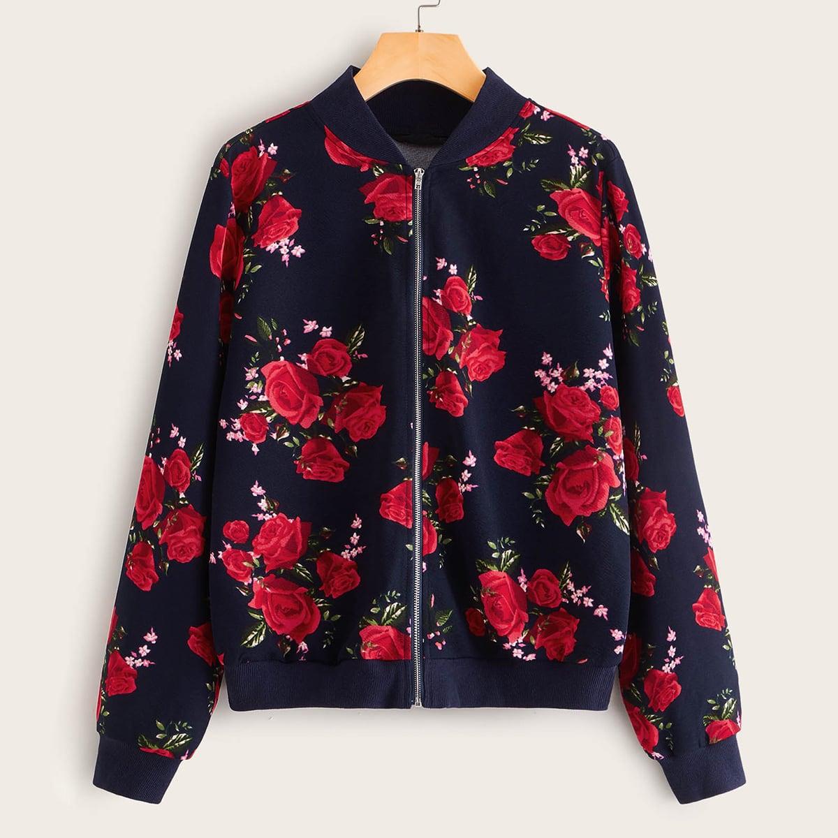 SHEIN / Jacke mit Rose Muster und Reißverschluss