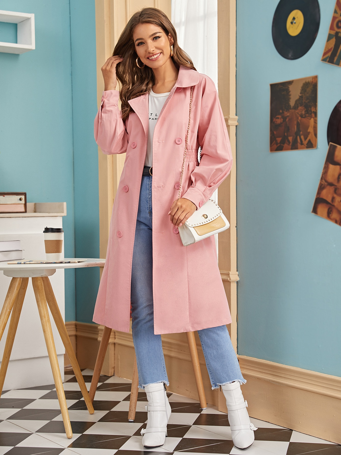 Solide Double Breasted Trench Coat