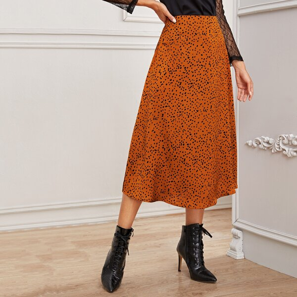 Dalmatian Print Zip Back A-line Skirt, Orange