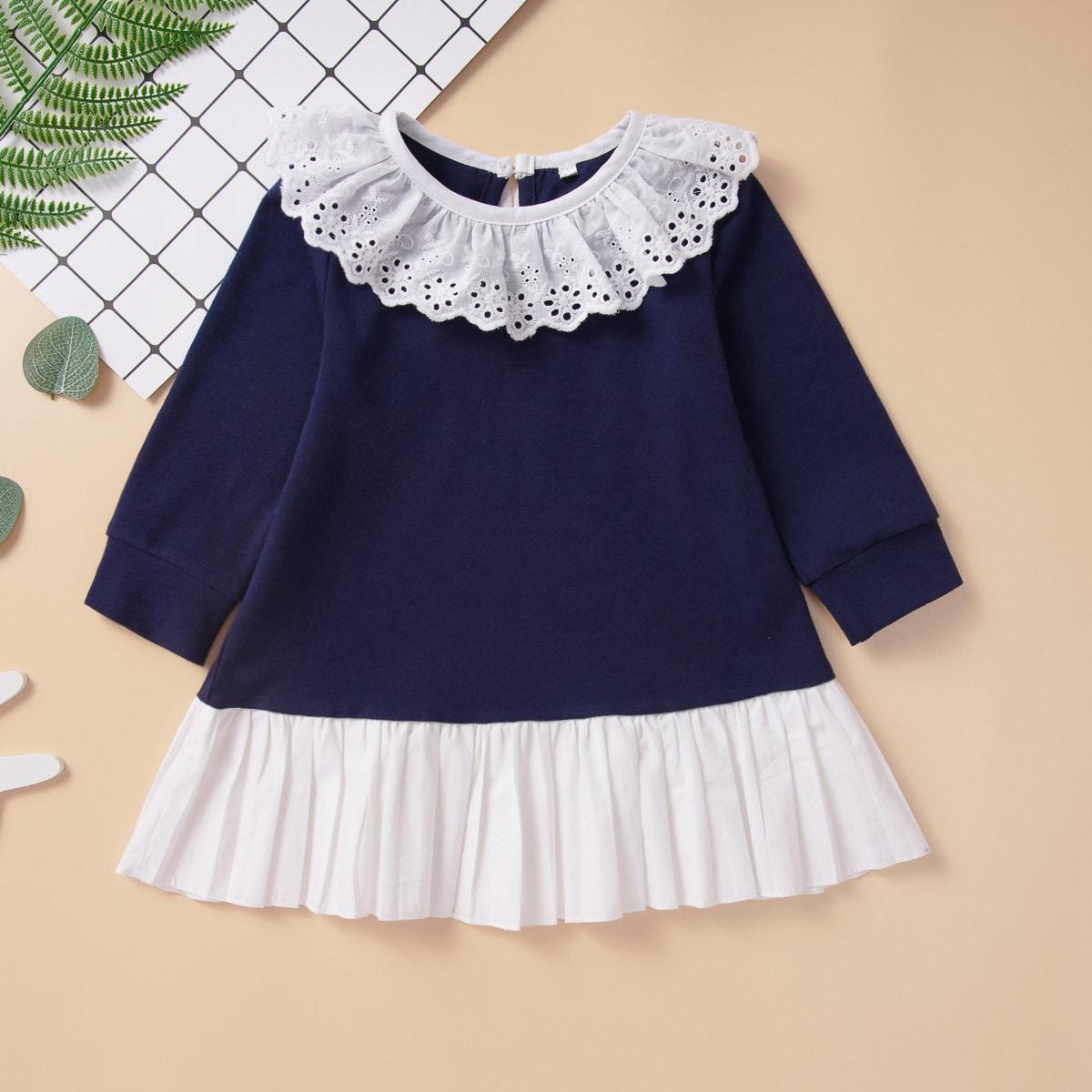 Контрастное платье для девочек от SHEIN