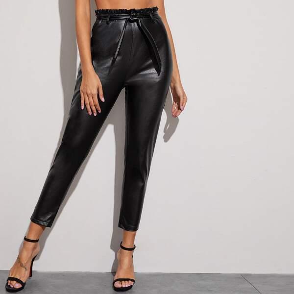 Self Tie Paperbag Waist PU Pants, Black