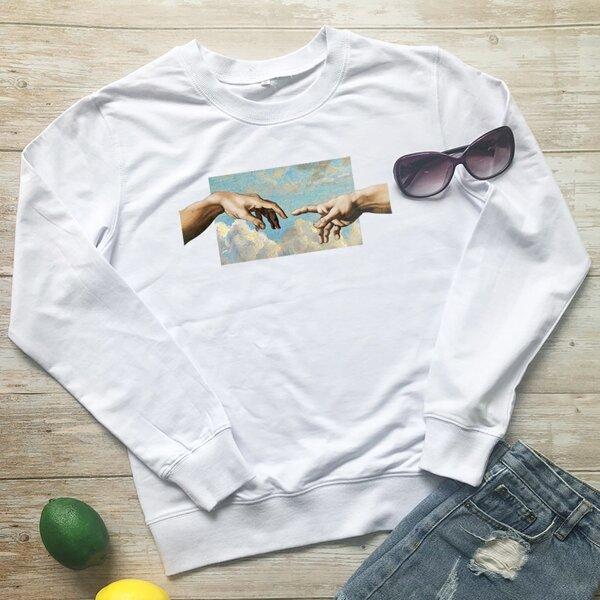 Hands And Graphic Print Sweatshirt, White