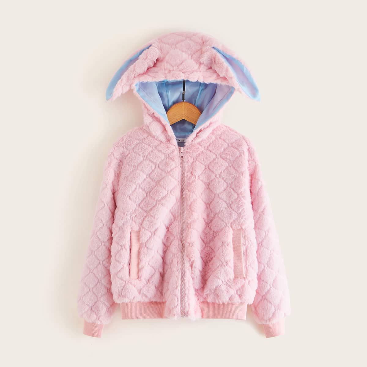 Куртка из искусственного меха с капюшоном в форме ушей кролика 3D для девочек от SHEIN