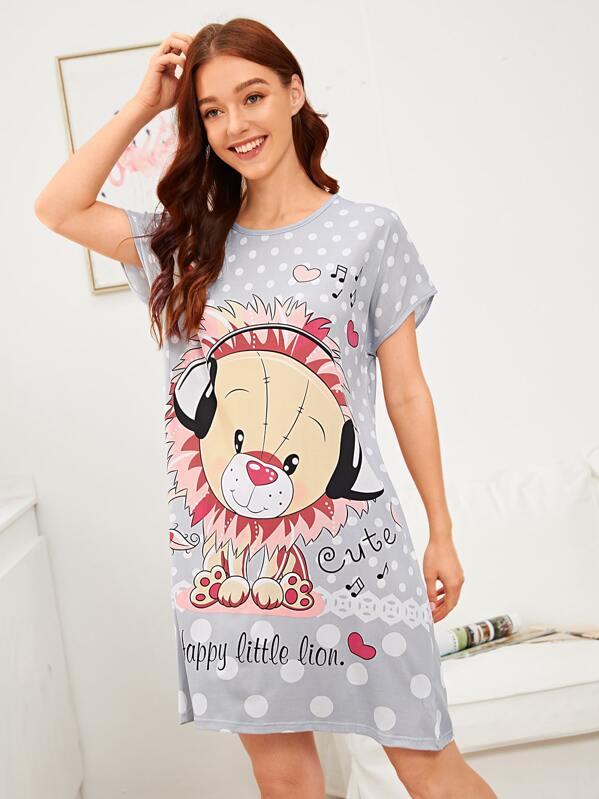 Polka Dot & Cartoon Lion Print Night Dress, Poly