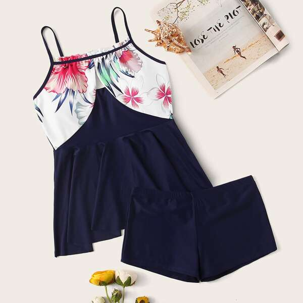 Floral Random Print Top With Shorts Tankini Set, Navy