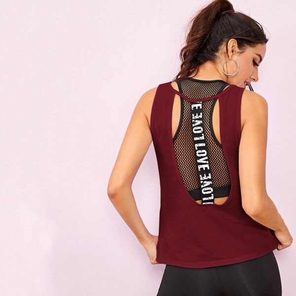 Letter Tape Backless Sports Tee