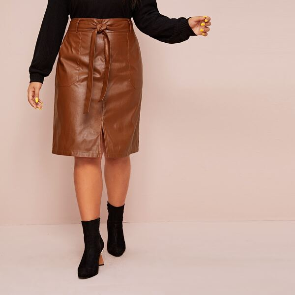Plus Split Hem Belted PU Skirt, Brown