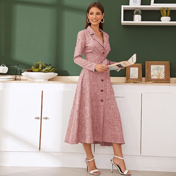 Notched Collar Single Breasted Linen Look Blazer Dress, Pink pastel