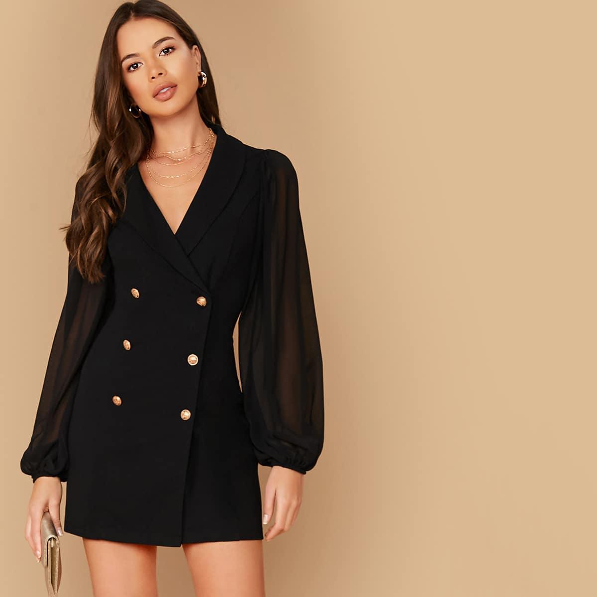 Двубортное платье-пиджак с прозрачным рукавом от SHEIN