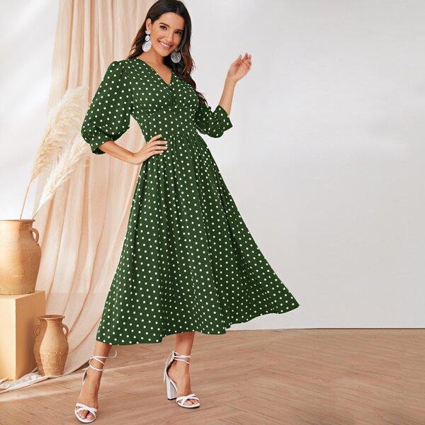 Polka Dot Button Detail Wide Waistband Dress, Green
