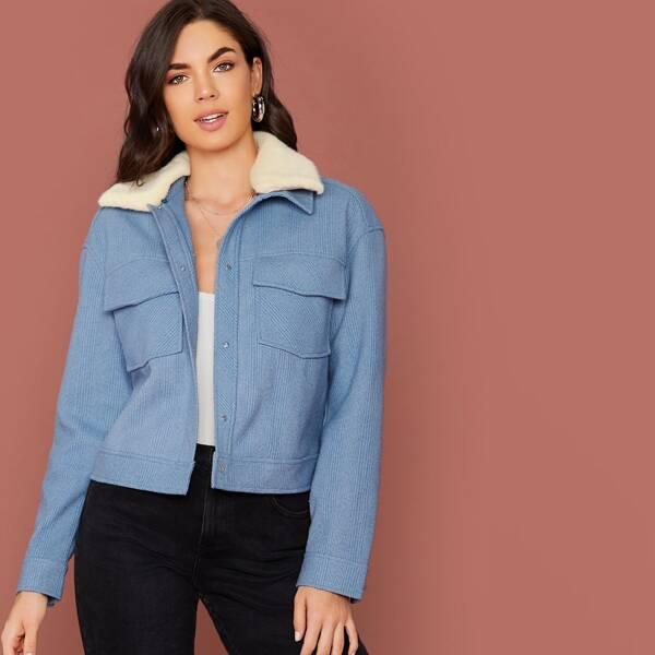 Contrast Faux Fur Collar Flap Pocket Jacket, Blue