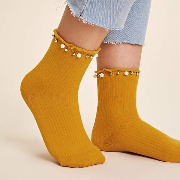1pair Faux Pearl & Bead Decor Socks, Yellow