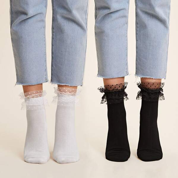 2pairs Contrast Lace Socks, Black and white