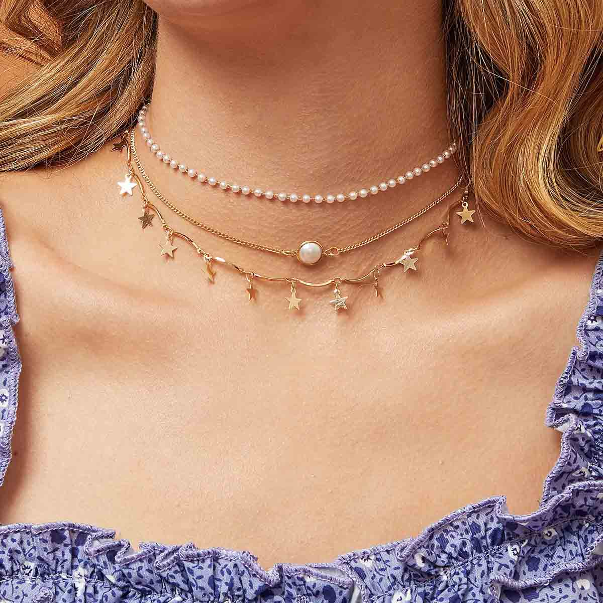 SHEIN / Mehrschichtige Halskette mit Stern Anhänger und Perlen Dekor 3 Stücke